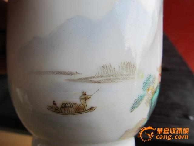 粉彩山水人物茶杯