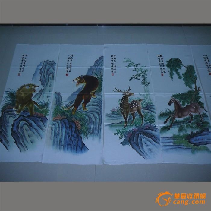 慕名湘绣 老刺绣收藏精品- 动物八条屏