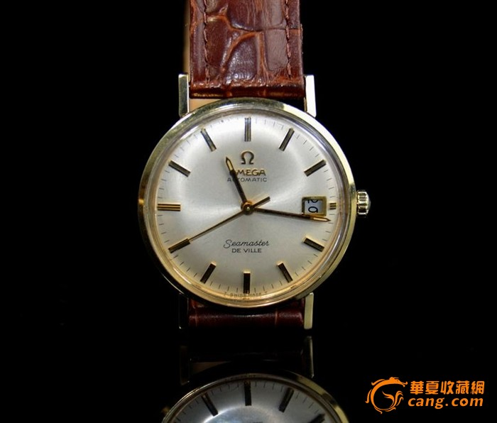 14K全包金古董老欧米加全自动日历腕表