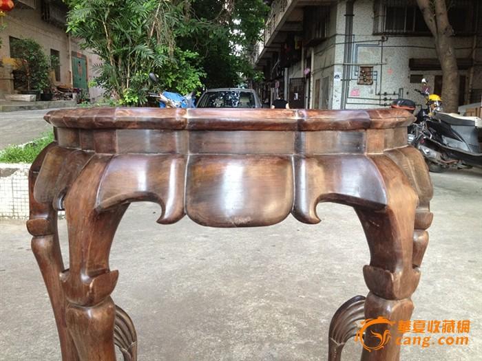 精美六仙桌 清代老红木酸枝 镶白石 三弯勾腿 小圆桌.