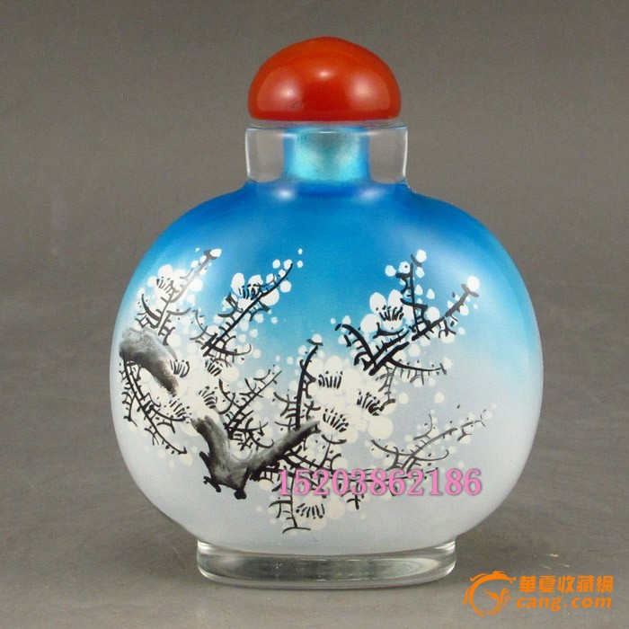 精美琉璃手绘 花开富贵鼻烟壶