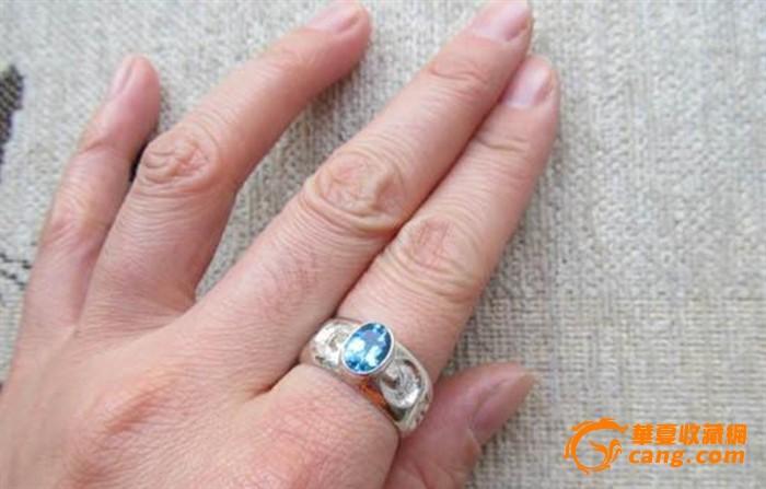 回流925银镶嵌托帕石戒指 包真包天然 编号z
