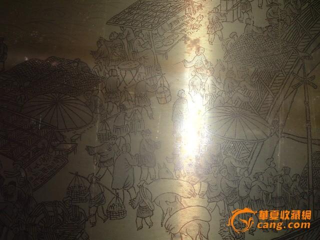 早期精美 清明上河图 铜皮画一张
