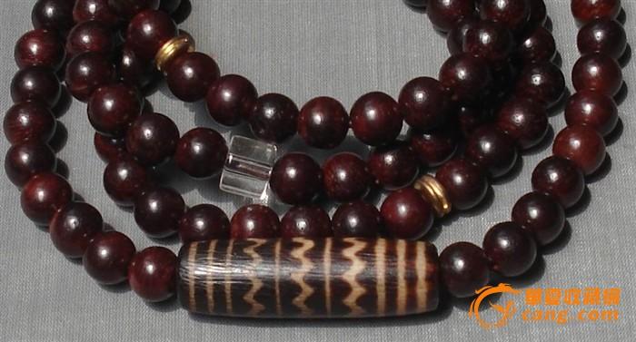 邦提克三线水纹木珠小叶紫檀佛珠手链