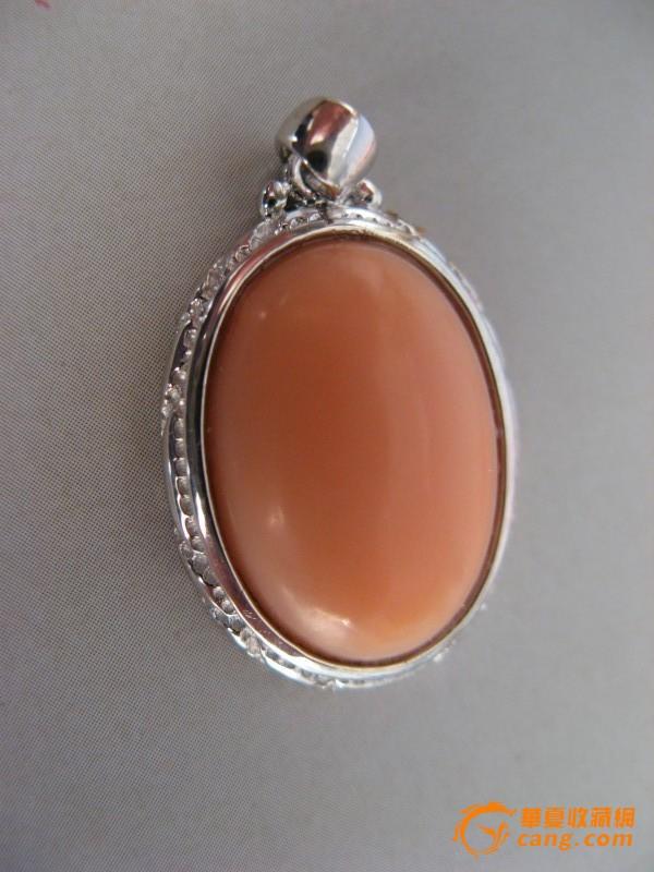 2a402椭圆粉红色momo银镀白金镶圈珊瑚吊坠