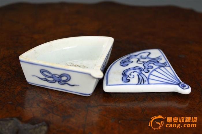 日本 青花瓷祥云图案 扇形 老香盒 印泥盒 古玩文玩茶具香具