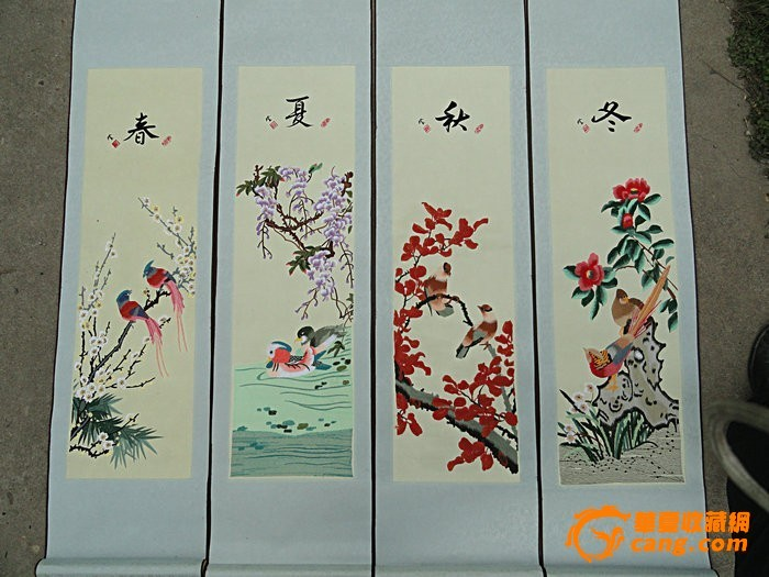 清代刺绣春夏秋冬四季挂屏13871631235图片