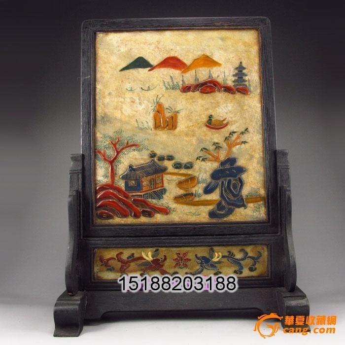 黑檀木镶嵌石板画 手绘山水风景屏风