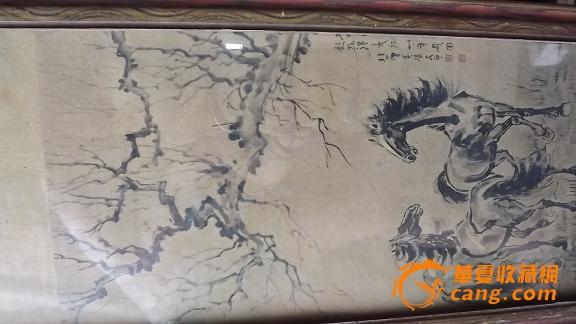 乡下收的手绘老画框老画【马】