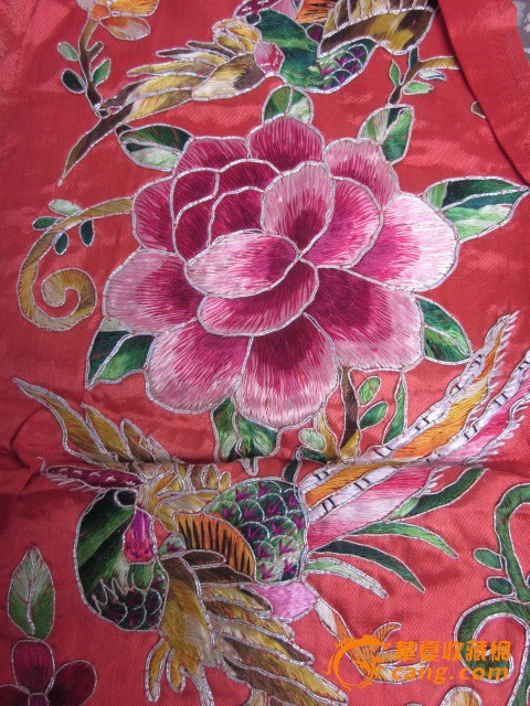 包老小片刺绣凤穿牡丹图片