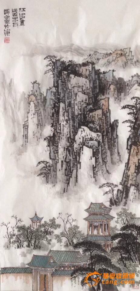 名家郑守宽四尺竖幅山水画建筑风景画江山如画图片