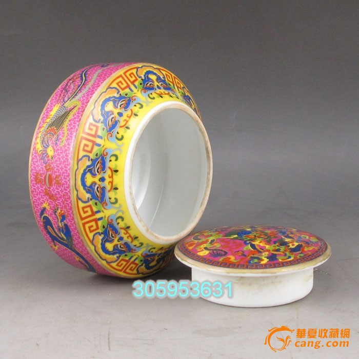 精美老瓷器手绘 龙凤瓷器罐