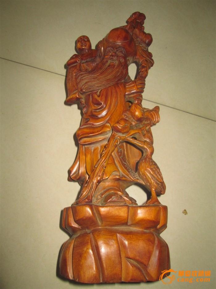 清代老黄杨木雕寿星