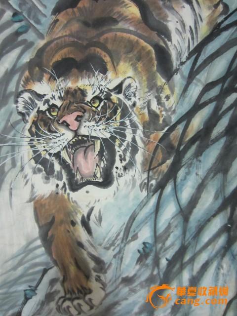 绘画老虎下山风景图