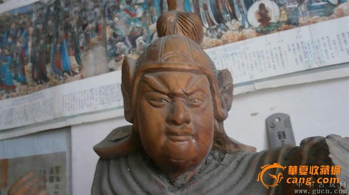 赵云赵子龙木雕像,很大,重10.8斤,香樟木雕刻,一手有缺