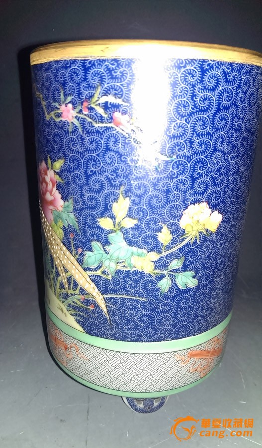 霁蓝釉 描金 花鸟 笔筒