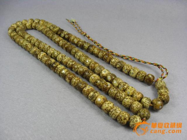 交易品介绍    藏式老星月菩提子正月镶银108念珠,藏式桶珠,有包浆