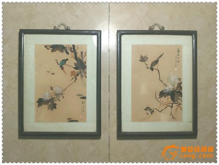 两幅精美雅致的文革花鸟纹羽毛画图1