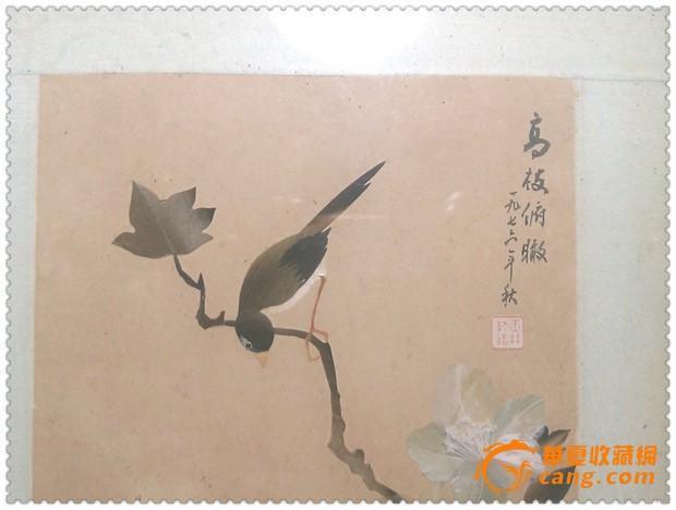 两幅精美雅致的文革花鸟纹羽毛画图4
