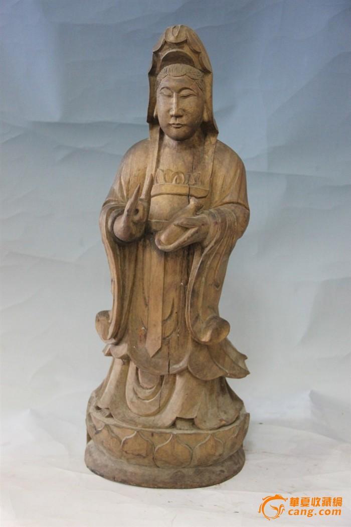 55厘米高清早期木雕观音菩萨立像佛像