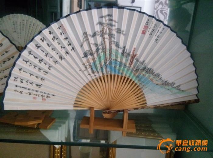 重庆工艺美术大师陈子福先生制做的梅鹿折扇