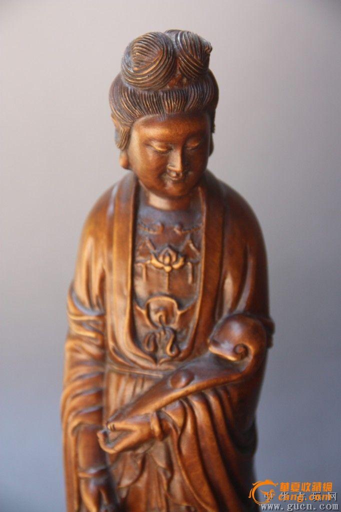 民国黄杨木雕如意观音