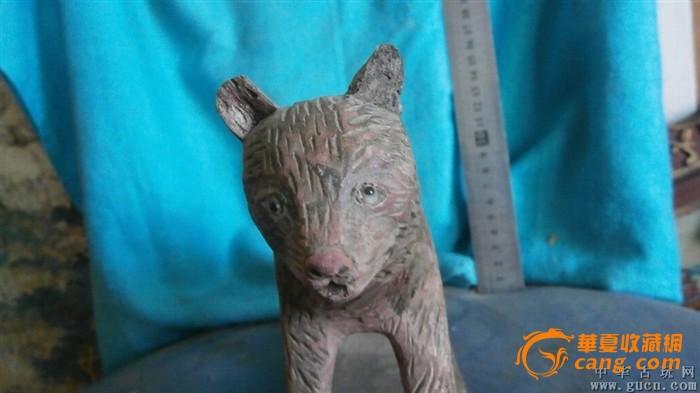 狼木雕一只,眼睛是琉璃的,包纯手工雕刻