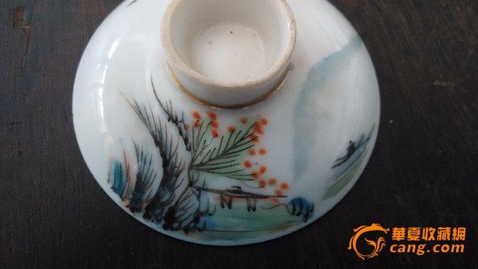 民国手绘盖碗茶山水盖子