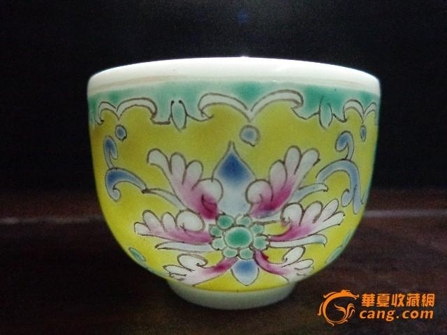 艺术瓷厂粉彩手绘缠枝莲花卉杯茶杯