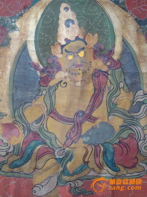 清-布制手绘唐卡-黄财神图5