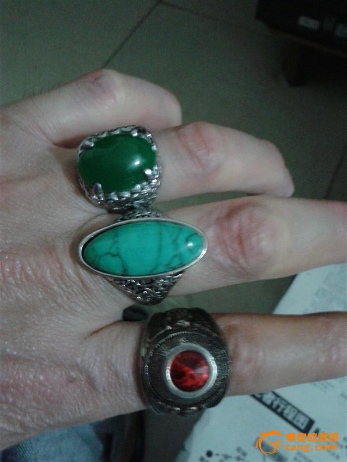 银镶宝石戒指3个
