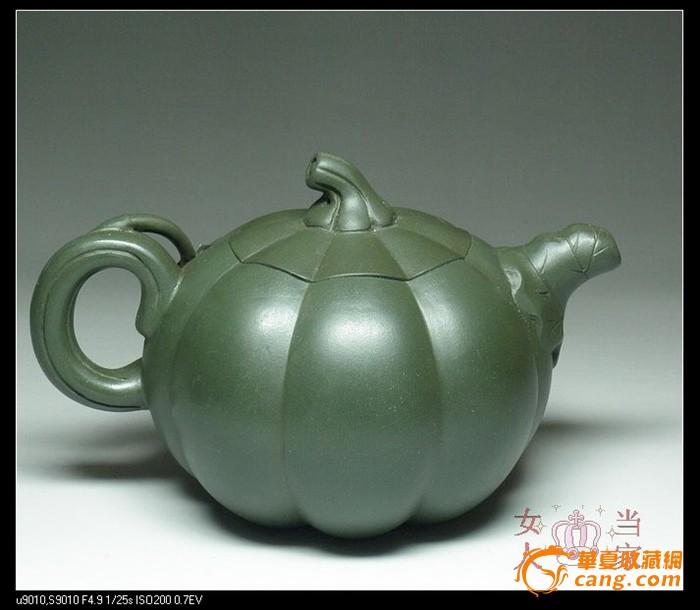 茗壶典藏 台湾回流 墨绿紫砂 南瓜壶380cc