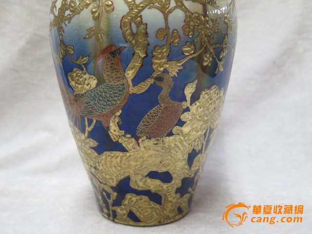 窑变釉描金花鸟赏瓶