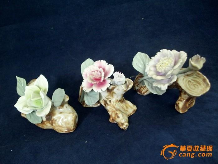 文革瓷----瓷花笔架一组(美全品)