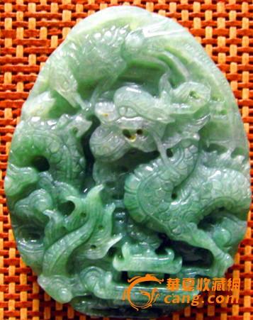 a货缅甸翡翠原石雕把挂件66克龙凤呈祥.送证书和田玉图1
