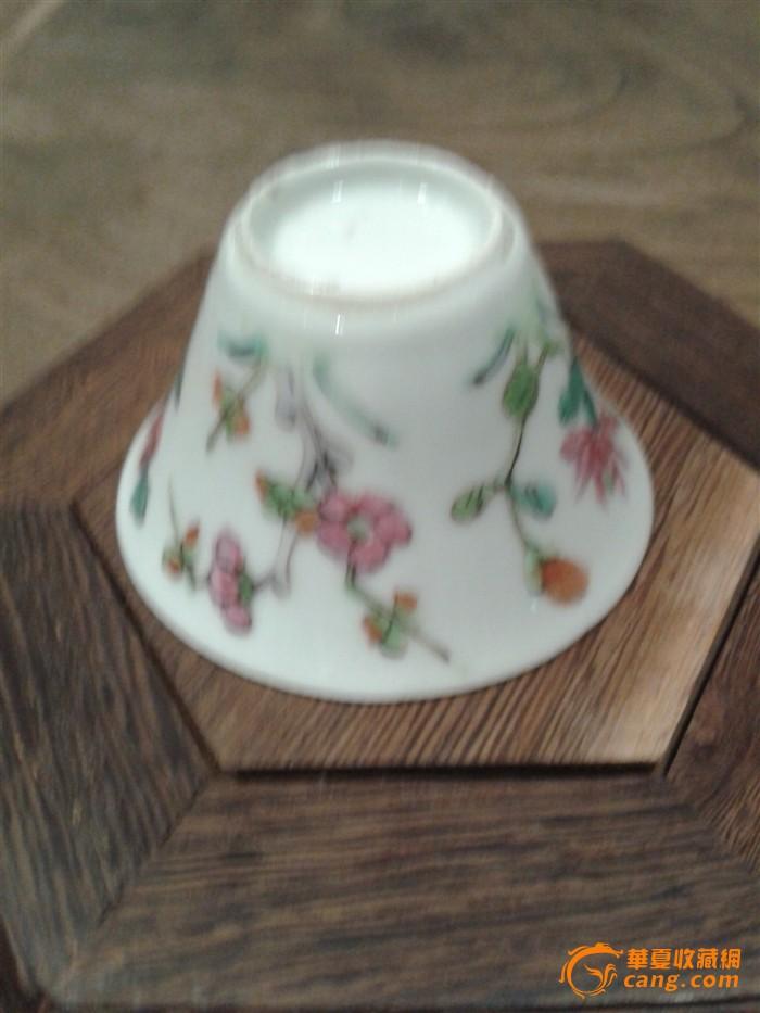 清代同光粉彩薄胎花卉小马蹄杯一套十只
