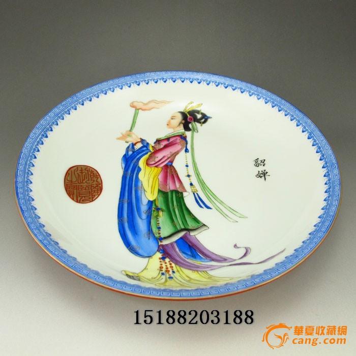 白瓷五彩手绘 美女貂蝉瓷盘图片