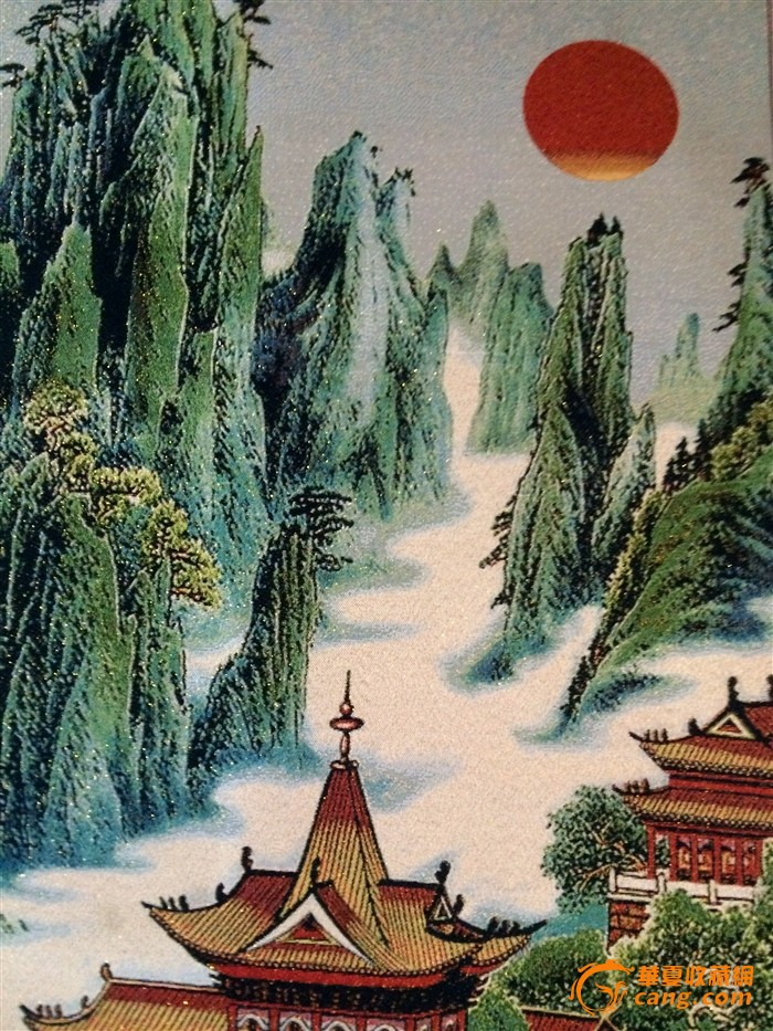 刺绣山水图