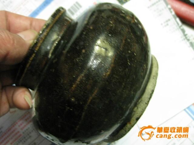 民窑/老酱釉民窑束口罐。包老民国。带款图6