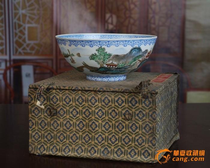 景德镇陶瓷/文革瓷器/全手工彩绘山水风景图薄胎碗(薄如纸)