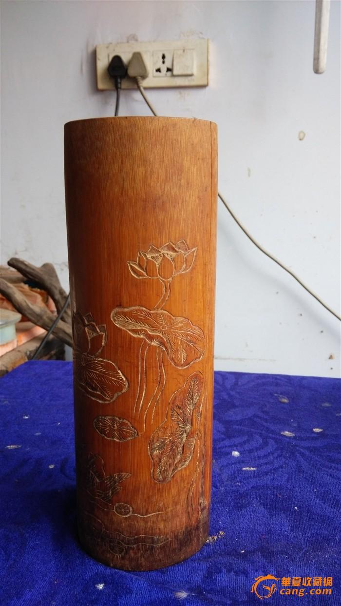 竹雕荷花鸳鸯纹小帽筒