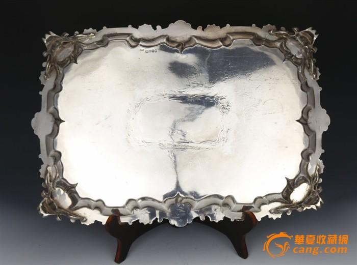 英国威廉iv时期伦敦1835年四足银盘银器洛可可花纹西洋银器