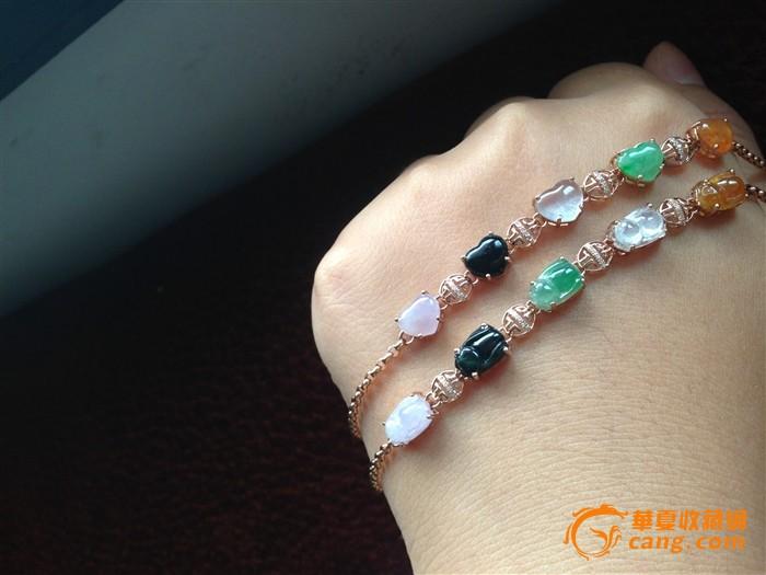 18k玫瑰金钻石镶嵌五彩翡翠手链