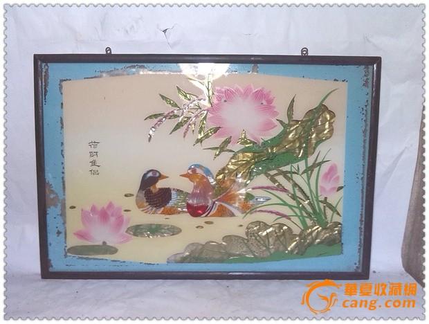 漂亮的五十年代手绘鸳鸯纹玻璃画
