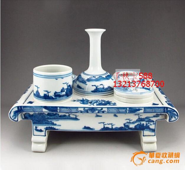 青花瓷手绘风景秀丽 精美文房用品
