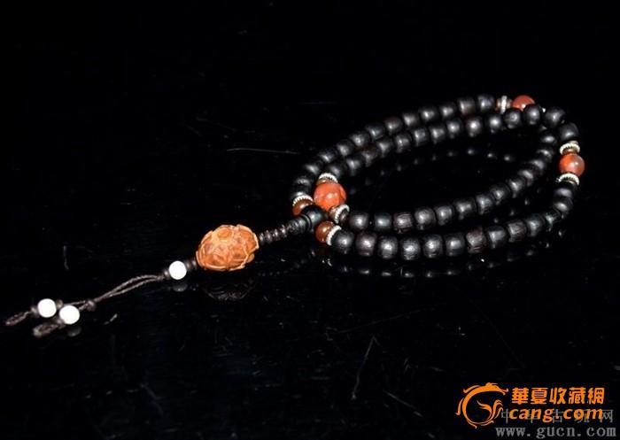 紫檀珠配玛瑙橄榄核雕手串