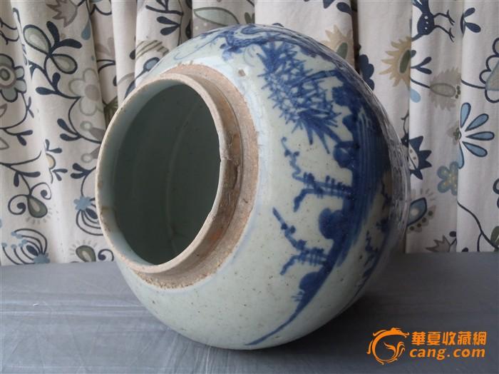 地摊 陶瓷 明清 青花山水风景纹钓鱼罐(001)  编号 jy8668472 上传