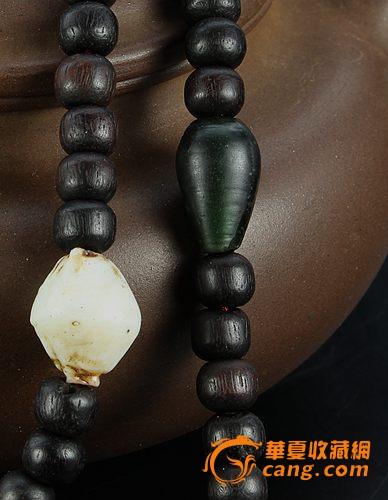 清代藏区原生态老紫檀108佛珠串图片