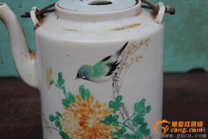 50年代手绘花鸟提梁壶