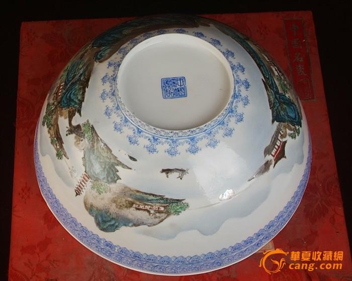 景德镇陶瓷/文革瓷器/全手工彩绘山水风景薄胎碗